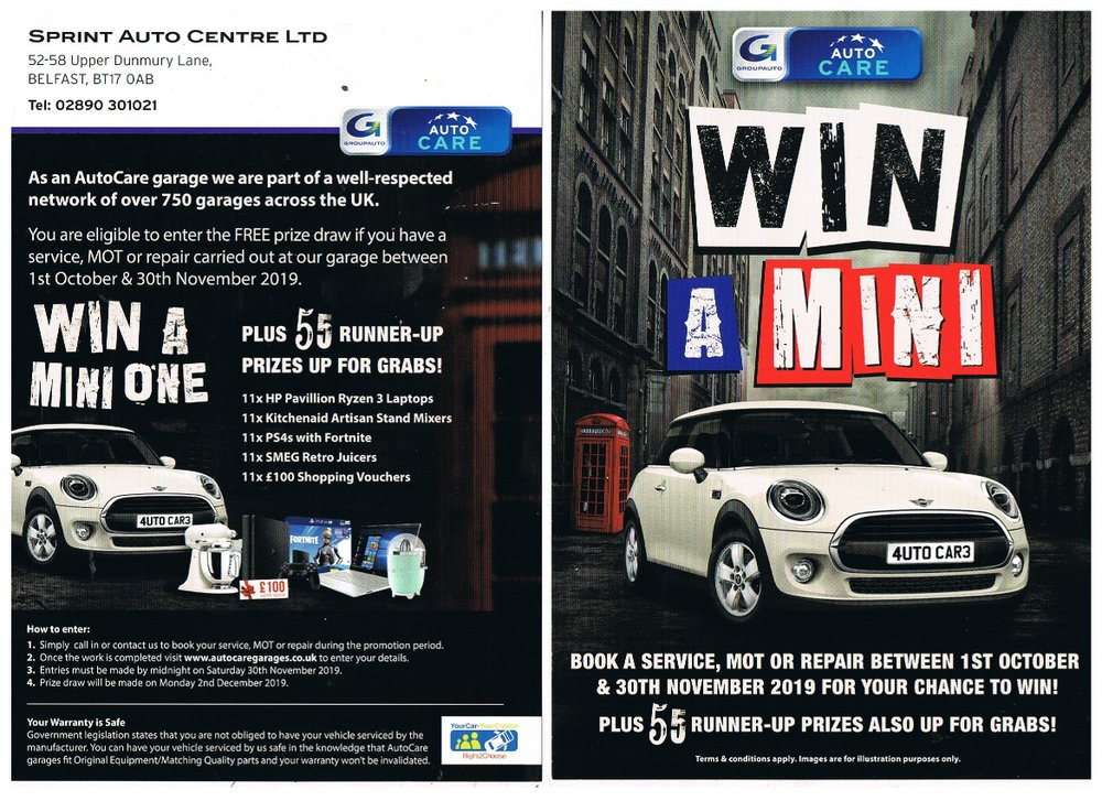 Sprint Auto Centre autumn prize draw flyer